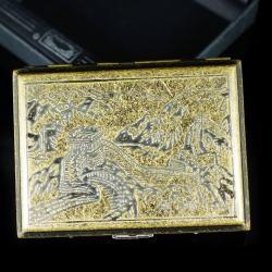 Hộp đựng thuốc teampistol chất liệu đồng chặm khắc hình vạn lý trường thành uy nghi (Loại 16 điếu) - Mã SP: BL01640