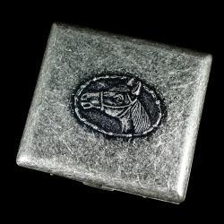 Hộp đựng thuốc teampistol chất liệu kim loại mầu xắm có hình đầu ngựa khắc nổi ( loại 20 điếu ) - Mã SP: BL01655