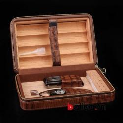 Hộp đựng xì gà chất liệu da cao cấp có dồ cắt kiên hộp quẹt xì gà xhính hãng cohiba đựng 4 điếu - Mã SP: BL03103