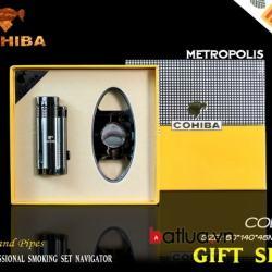 Hộp quẹt hút xì gà cohiba chính hãng kiêm đồ cắt bằng thép không rỉ cực bén - Mã SP: BL03110