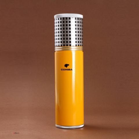 Ống giữ ẩm đựng Cigar Cohiba mẫu ngắn màu vàng