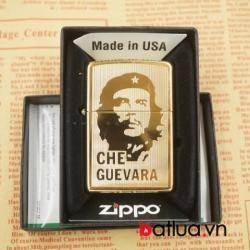 Zipo chính hãng 264b mầu vàng chạm khắc 2 mặt in hình Che guevara - Mã SP: BL03062