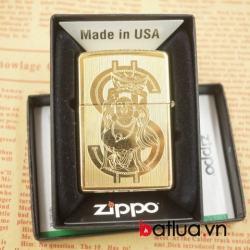 zippo chíh hãng mầu vàng khắc 2 mặt hình đồng tiền - Mã SP: BL03074