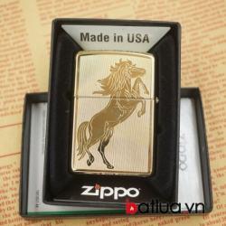 Zippo chính hãng 254B bản đồng vàng khắc ngựa 2 mặt - Mã SP: BL03057