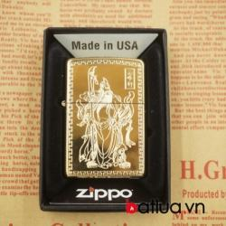 Zippo chính hãng 254B mầu vàng khắc 1 mặt hình quan công tinh xảo - Mã SP: BL03051