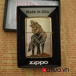 zippo chính hãng 254b màu vàng khắc 2 mặt hình chó sói - Mã SP: BL03061