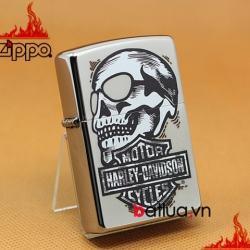 Zippo Chính Hãng Bạc Hình Đầu Lâu Harley Davidson - Mã SP: BL03234
