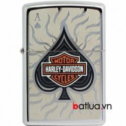 Zippo Chính Hãng Bạc In Hình Lá Bích Logo Harley Davidson - Mã SP: BL03231