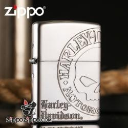Zippo Chính Hãng Bạc Khắc Đầu Lâu Harley Davidson - Mã SP: ZPC1018