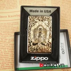 Zippo chính hãng đen bóng chạm khắc 1 bên hình phật - Mã SP: BL03065