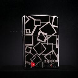 Zippo Chính Hãng Đen Bóng họa tiết Hình Vuông Ver 1 - Mã SP: BL03218