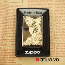 Zippo chính hãng đen bóng khắc vàng 1 mặt cá chép - Mã SP: BL03059