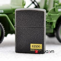 Zippo Chính Hãng Đen Sần có Logo - Mã SP: BL03232