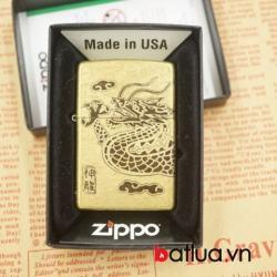 Zippo chính hãng đồng khắc 4 mặt hình rồng quấn - Mã SP: BL03053