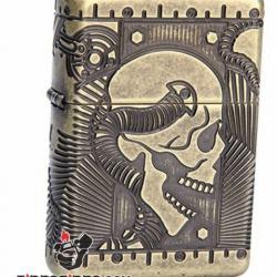 Zippo Chính Hãng Đồng Khắc Đầu Lâu Hộp Sọ Vỏ Dày Armor - Mã SP: ZPC01028