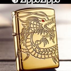 Zippo Chính Hãng Đồng Mạ Vàng Khắc Rồng Mắt Đỏ Tinh Xảo Vỏ Dày Armor - Mã SP: ZPC1092