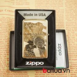 Zippo chính hãng đồng vàng khắc 2 mặt cờ mỹ - Mã SP: BL03079