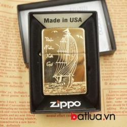 Zippo chính hãng khắc vàng bóng hình thuyền buồm - Mã SP: BL03072