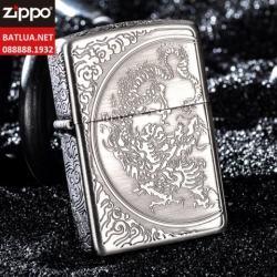Zippo Chính Hãng Màu Bạc Khắc Họa Tiết Rồng Vân Xung Quanh - Mã SP: ZPC1114
