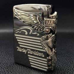 Zippo Chính Hãng Màu Đen Khối Hình Động Cơ Harley Davidson Bên Sườn - Mã SP: ZPC1131