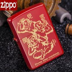 Zippo Chính Hãng Màu Đỏ Khắc Hình 3 Chú Khỉ 3 Không - Mã SP: ZPC1084