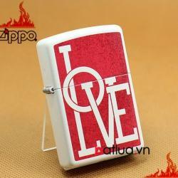 Zippo Chính Hãng Màu Trắng in chữ Love nền đỏ - Mã SP: BL03237