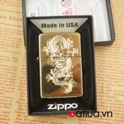 Zippo chính hãng mầu vàng bóng khắc rồng bay 1 mặt - Mã SP: BL03063