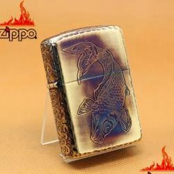 Zippo Chính Hãng Màu Vàng Đốt Khắc Cá Chép Cùng Hoa Văn Arab Vỏ Dày Armor - Mã SP: ZPC1099