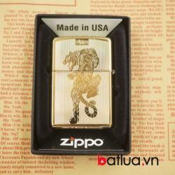 Zippo chính hãng mầu vàng khắc hình hổ 2 mặt - Mã SP: BL03073
