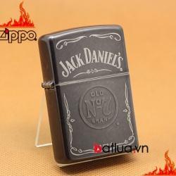 Zippo Chính Hãng Màu Xám Hình Rượu Vang Jack Daniel - Mã SP: BL03236