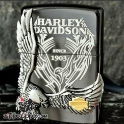 Zippo Chính Hãng Màu Xám Phiên Bản Harley Davidson Chim Ưng Nổi HD 18 - Mã SP: ZPC1015