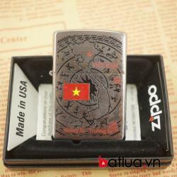 zippo chính hãng mỹ 260 mầu bạc khắc nổi bản đồ việt nam tinh tế - Mã SP: BL03055