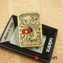 Zippo chính hãng phiên bản chiến tranh việt nam mầu vàng chạm khắc hình bản đồ - Mã SP: BL03050