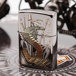 Zippo Chính Hãng Phiên Bản Hàn Quốc Gold Cobra  (Black Ice) - Mã SP: ZPC1218