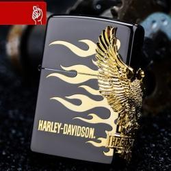 Zippo Chính Hãng Phiên Bản Harley Davidson Màu Đen Có Hình Chim Ưng Mạ Vàng Bên Sườn - Mã SP: ZPC1125
