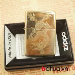 zippo chính hãng vàng bóng khắc 1 mặt hình rồng - Mã SP: BL03067