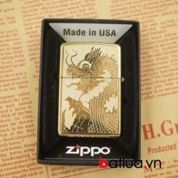 Zippo chính hãng vàng bóng khắc 2 mặt hình rồng tinh tế - Mã SP: BL03052